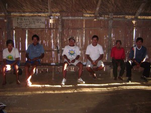 Yúriwawa men talking in their longhouse: Roque is the little one in red
