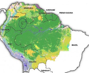 Map of South America and the Upper Rio Negro Region where the Kubeos are located